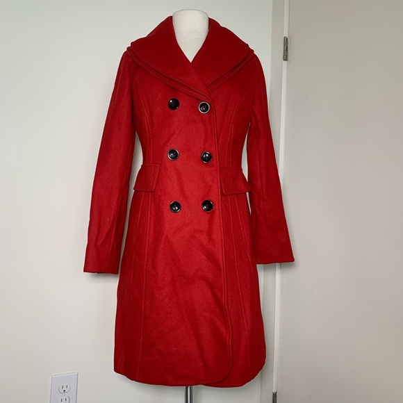 Guess Jackets & Blazers - Guess NWOT Red Wool Blend Peacoat